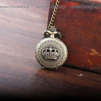 Cool Hot Fashion Small Size Imperial Crown Pattern of King&Queen Retro Necklace Pocket watch vintage Men's Women's GiftAT_93_12