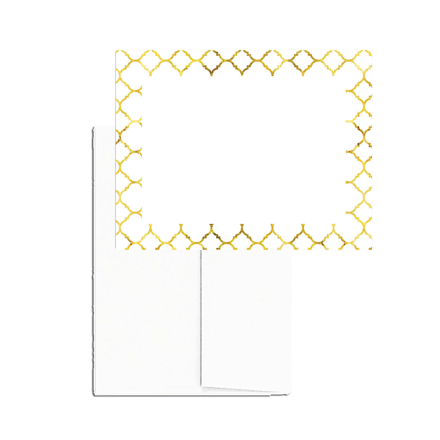image relating to Printable Blank Note Cards identified as Gold Quatrefoil 24 Printable Blank Be aware Playing cards with Envelopes
