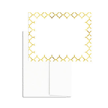 Gold Quatrefoil 24 Printable Blank Note Cards with Envelopes