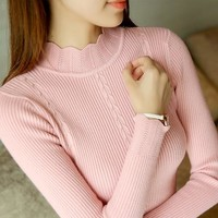 On sale New 2019 spring women ladies half turtleneck slim fitting knitted sweater top femme korean pull elastic casual Pullovers