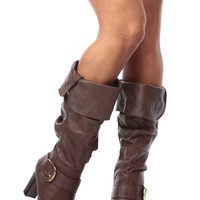 Brown Faux Leather Slouch Calf Length Chunky Heel Boots