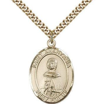 "Saint Anastasia Medal For Men - Gold Filled Necklace On 24"" Chain - 30 Day Mo... 617759119718"