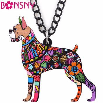 Bonsny Love Animal Dog Pets Boxer Necklace Pendant Acrylic Pattern New Fashion Jewelry For Women Collar Choker Bijoux Gifts