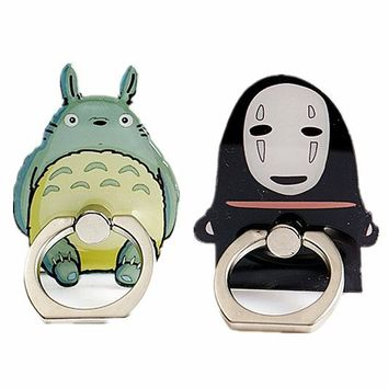 Studio Ghibli Totoro Sailor Moon Luffy Naruto Detective Cona Figure Metal Finger Ring Mobile Phone Smartphone Stand Holder