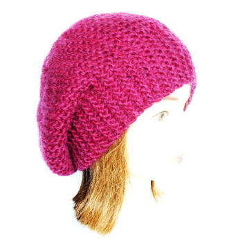 Beret style slouch hat dark rose wine burgundy slouchy beanies hats women knitted irish handknit