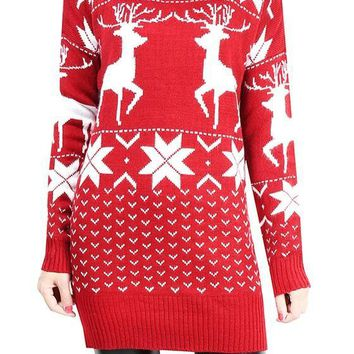 Red Reindeer Print Round Neck Long Sleeve Casual Christmas Long Pullover Sweater