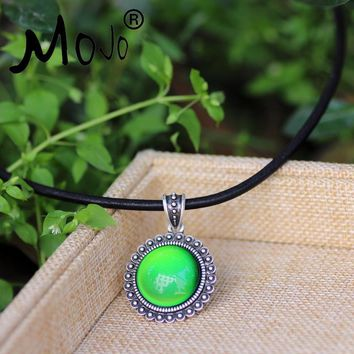 Mojo Classic Sun Punk Style Round Mood Color Changing Leather Necklace for Fashion Women  Jewelry  MJ-SNK004