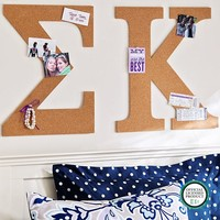 No Nails Greek Letter Cork Pinboard