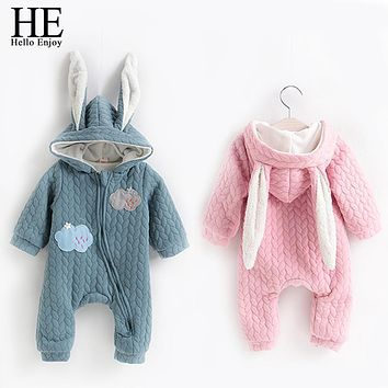 Winter Overalls For Baby Cotton Plush Snowsuit Zipper Design Cartoon Clouds Embroidery Newborn Baby Girl Boys Clothes Baby Coat