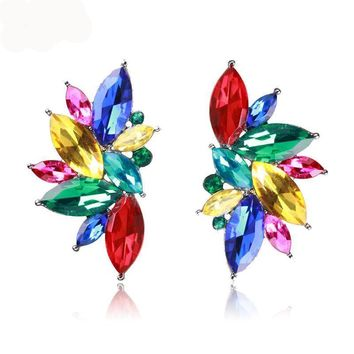 Opal Stone Crystal Stud Crystal Earrings For Women Trendy Golden Women Earrings