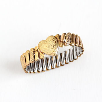 Vintage Heart and Flower Expansion Bracelet - WWII Era 1940s 12k Yellow Gold Filled Chased Sweetheart Romantic Jewelry , Bellavance