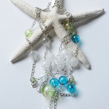 Blue and Green Necklace - Mermaid Bubbles - Blown Glass - Jenniflair Jewelry