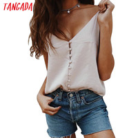 Tangada women tank top sexy Satin Look Silk Tanks Strappy backless girls camisole Beach short crop tops 2017 Pink camis 5D6