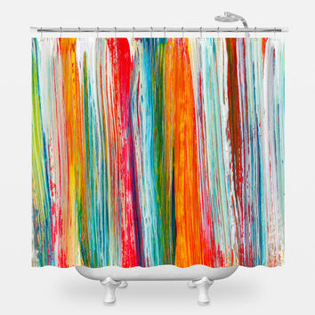 Multicolor Brush Strokes Shower Curtain
