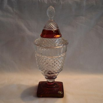Covered Candy Dish ~ Westmoreland English Hobnail ~ Clear w Ruby Flash Stain   Mid  to late 1900's
