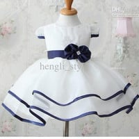 New Summer Girls' Baby TUTU Dress Bowknot Lace Girl Children's Dress Flower Kids' White TUTU Dresses
