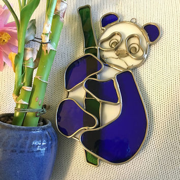 Stained Glass Panda Bear Suncatcher Art Glass Bear Holding Bamboo Shoot Blue Green and White Window Decor Chinese Panda Bear Lovers Gift