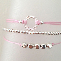 Triple Silver Friendship Bracelet with Adjustable Cord in Pink