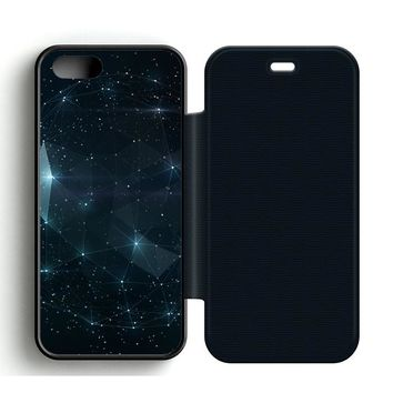 Night Sky Constellations Leather Wallet Flip Case iPhone 5 | 5S