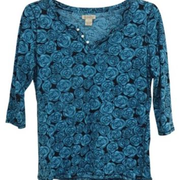 Lucky Brand Black And Blue 3/4 Sleeves Slit Neck Rose Print Shirt Floral Print Casual Top 49% off retail