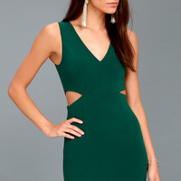 Backstage Pass Forest Green Sleeveless Cutout Bodycon Dress