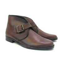 vintage brown buckled shoes. ankle boots. men's size 7