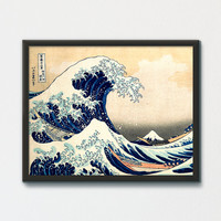 The Great Wave Printable, Hokusai, Under the Wave off Kanagawa Poster Print, Wave Tie Japanese Art Necktie Ocean Wave Poster, Fine Art Print