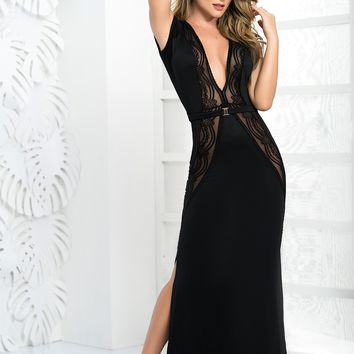 Sheer Lace Panel Gown
