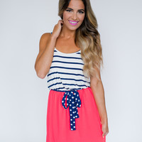 Navy Stripe/Coral Bottom Dress