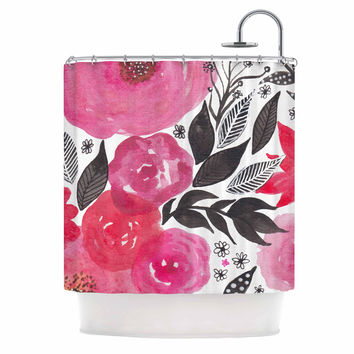 "Li Zamperini ""Pink Garden"" Rose Floral Shower Curtain"