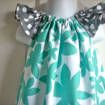 Handmade kids clothes childrens clothes girls dress pillowcase dress flutter sleeves dress teal and grey