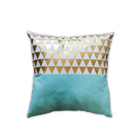Mint Gold Triangles Pillow