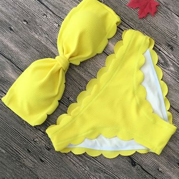 Yellow Scallop Ruched Bandeau Bikini Set