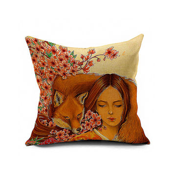 Cotton Flax Pillow Cushion Cover Animal   DW071