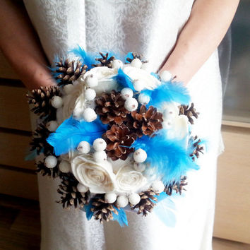 Winter wedding frozen wonderland BOUQUET Cream Flowers, pine cones, raw cotton, feathers, frozen fruits, sola roses, blue