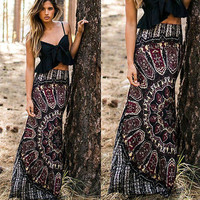 New Womens Floral Boho Sun Tribal Floral Maxi Summer Beach Waist Long Casual Skirts