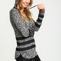 Varsity Stripes Heathered Knit Hoodie