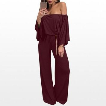 Strapless Bell-Bottom Jumpsuit