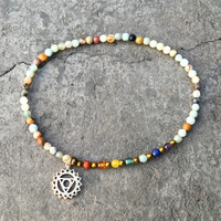Throat Chakra Anklet, Chakra Gemstones and Amazonite Anklet