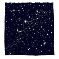 "JKYUKO Shining Stars In The Night Sky Polyester Waterproof Shower Curtain 60"" X 72"""