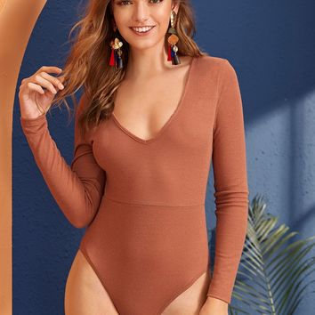 Solid Plunging Neck Form Fitted Bodysuit