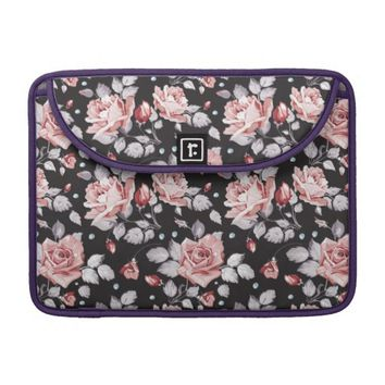 Vintage Pink Floral Pattern Macbook Pro Sleeve
