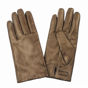 Touch Screen Leather Gloves in Gold