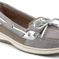 Sperry Top-Sider Angelfish Sparkle Suede 2-Eye Boat Shoe GraySparkleSuede/Silver, Size 5M  Women's