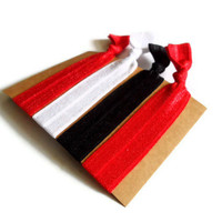 Elastic Hair Ties Red and Black Yoga Hair Bands