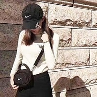 Nike Trending Women Men Personality Canvas Purse Waist Bag Single-Shoulder Bag Crossbody Satchel And Stylish Cotton Embroidery Hat I-AGG-CZDL