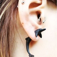 Neon Fashion 3D Dolphin Single Ear Stud (Single) | LilyFair Jewelry