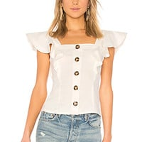 LPA Button Up Ruffle Tank in White | REVOLVE