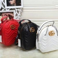 ONETOW Gucci' Women Fashion Double G Letter Quilted Mini Backpack Single Shoulder Messenger Bag Double Shoulder Bag