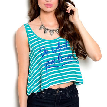 What You Love Crochet Top - Teal